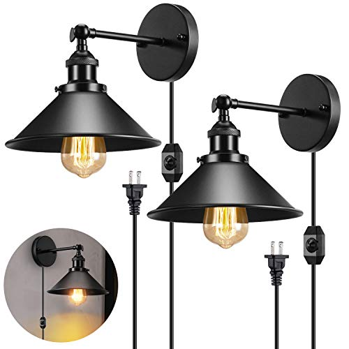 Industrial Plug in Wall Light with 5.9Ft dimmable Switch, Matte Black Vintage...