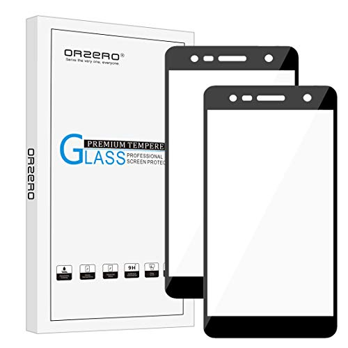 Orzero (2 Pack) Compatible for LG X Charge, LG Fiesta LTE, LG K10 Power, LG X Power 2 (Full Coverage) Tempered Glass Screen Protector, 2.5D Arc Edges 9 Hardness HD (Lifetime Replacement)-Black