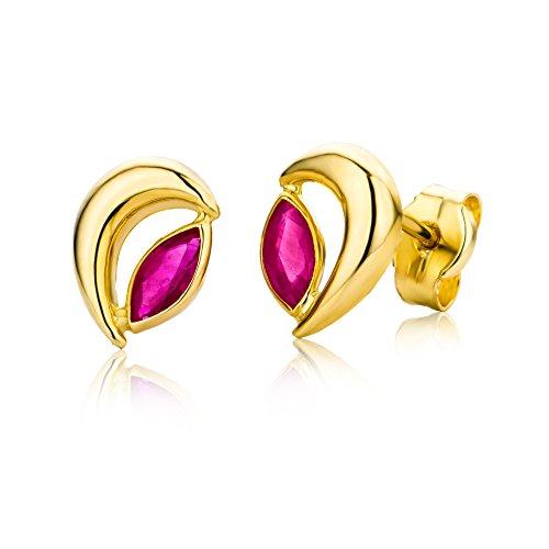 Miore Pendientes de mujer con oro amarillo de 9 quilates (375/1000) y rubí