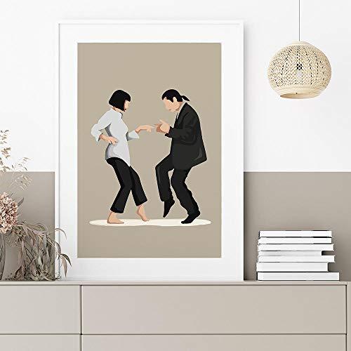 VVSUN Póster de película clásico Abstracto Pulp Fiction Mujer Hombre Minimalista Lienzo Pintura Baile Arte de la Pared Imagen Decoración para el hogar 50X75cm 20x30 Pulgadas Sin Marco