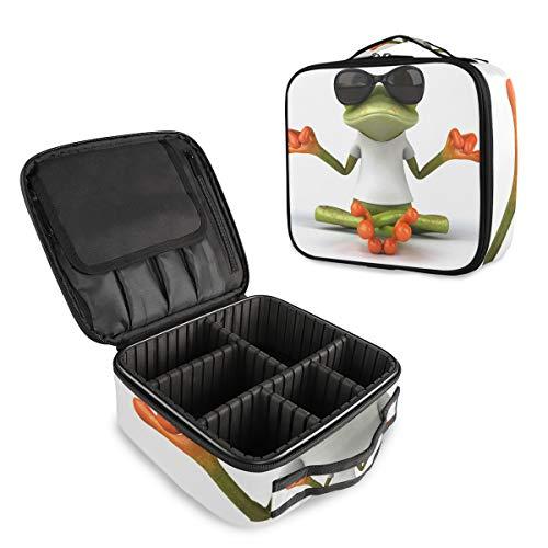 Lustiger Frosch mit Sonnenbrille, professioneller Make-up-Tasche, Reisetasche, Kosmetiktasche, Organizer, tragbare Make-up-Tasche, Make-up-Tasche, Reisetasche für Frauen