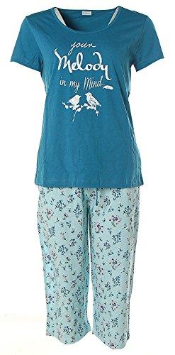 Petite Fleur Damen Capri Pyjama kurz Petrol 36/38