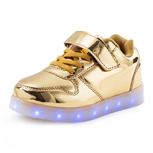 AFFINEST LED leuchtet Schuhe Sneakers mit USB einem Geschenk der Kinder Jungen Mädchen Weihnachten Neujahr (golden,35)