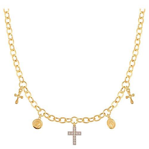 Collana Ejubiler con ciondolo a forma di croce, bicolore, oro per Prima Comunione, Battesimo, 585, 14 carati