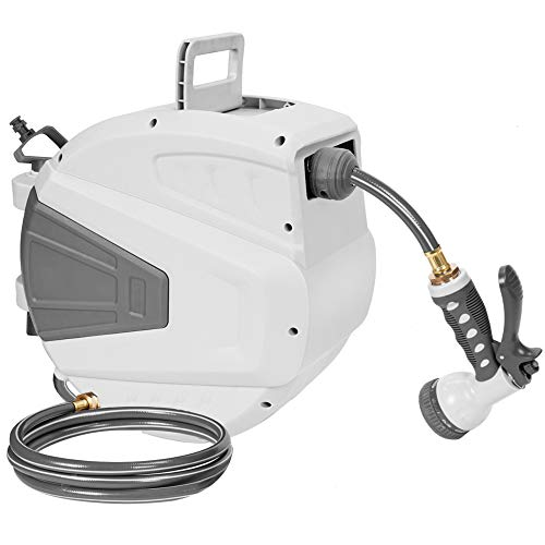 ORCISH Hose Reel,3/8 66 FT Wall Mounted Retractable Garden Hose-Reel with 9 Adjustable Sprayer Nozzle Any Length Lock/Automatic Rewind/Slow Return System/Wall Mounted/180°Swivel Bracket