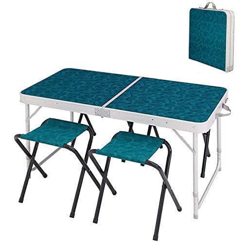 YAHAO Mesa de Camping Plegable con Asientos, Aluminio Portátil con Mesa de Picnic Plegable de 4 Asientos para Viajes de Barbacoa para Acampar Al Aire Libre