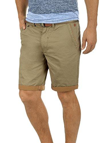 Blend Neji Herren Chino Shorts Bermuda Kurze Hose Mit Gürtel Aus 100% Baumwolle Regular Fit, Größe:L, Farbe:Lead Gray (70036)