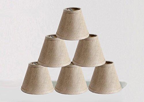 ONEPRE kleine Kerze Clip Lampenschirme 6 St¨¹ck, Handarbeit, Kerzenform, Linen Stil Stoff, Handgefertigte Dekorative Handgemacht Lampenschirm