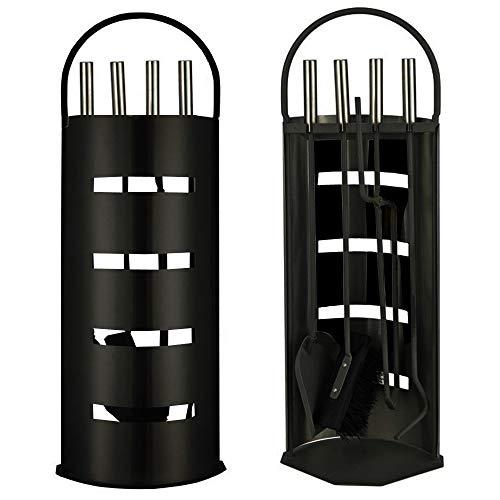 Ora-Tec Kaminzubehör 5-teiliges Kaminbesteck Set - Modern Design, beschichtet, Schwarz - Hochwertige Kamingarnitur aus 5 Teilen: Besen, Schaufel, Schürhaken, Zange, Ständer mit Sichtschutz (Schwarz)