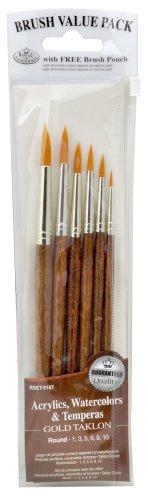 Royal & Langnickel Gold Royal Zip N' Close Taklon Round 6-Piece Brush Set, 10.5 x 2.9 x 0.5