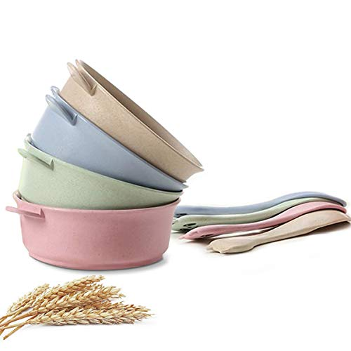 4 Pcs Kids Cereal Bowls Set, Infant Unbreakable Wheat Straw Cereal Bowls,...