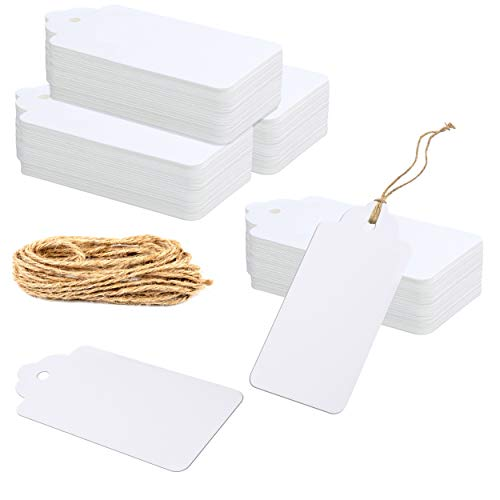 """150 PCS Kraft Paper Gift Tags with 100 Feet Natural Jute Twine String for Arts Crafts Packaging (White,Label Measures 4"""" X 2"""")"""