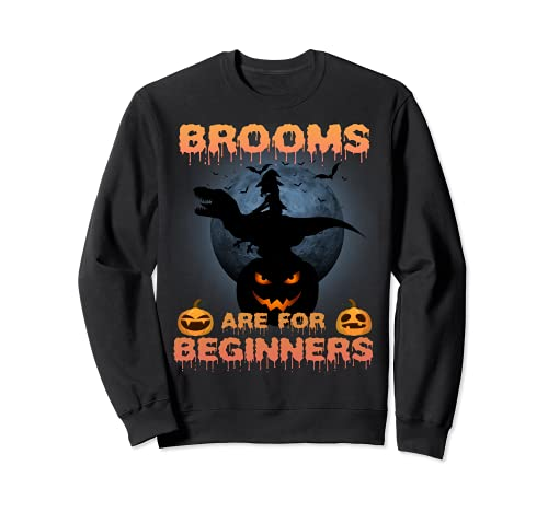 T Rex Bruja Halloween Divertidas Escobas Son Para Principiantes Sudadera