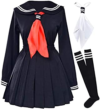 Classic Japanese School Girls Sailor Dress Shirts Uniform Anime Cosplay Costumes with Socks Set Black  S = Asia M  SSF08BK