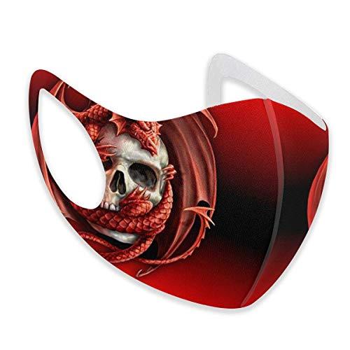 Unisex Gesichtsabdeckung, verstellbar, Anti-Staub-Mundschutz, waschbar, wiederverwendbar, für Radfahren, Camping, Reisen, cooler Totenkopf, Drache, Rot