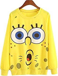 Sponge Bob Pullover Sweatshirt Women Long Sleeve Blouse Tops T Shirt
