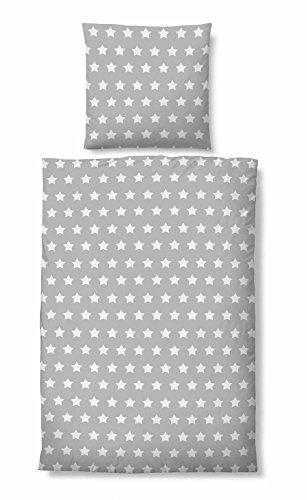 biberna 0044745 Bettwäsche Garnitur mit Kopfkissenbezug Baumwoll-Linon 1x 135x200 cm + 1x 80x80 cm sturmgrau