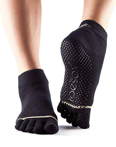 Toesox Full Toe Ankle Calcetines de Yoga, Unisex Adulto, Negro, S