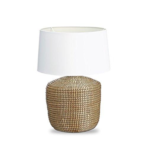 Relaxdays–Lámpara de mesa de hierba de mar lámpara de noche escritorio pantalla blanco en algodón diseño marítimo rústico talla pequeña Shabby Chic Liseuse lámpara de lectura Ambiance, marrón