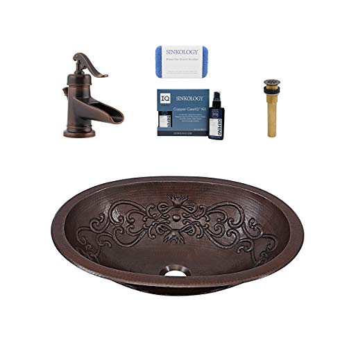 Sinkology SB202-19SC-F042-AMZ Pauling Undermount or Drop Bath Sink Pfister Ashfield Faucet and Drain Bathroom All-in-One Kit, Aged Copper
