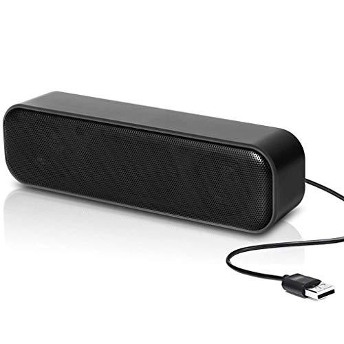 USB-Computer-Lautsprecher, Mini-Soundbar-Lautsprecher, USB-Power-Computer, Laptop-Lautsprecher, Stereo-Sound, USB-Soundbar für Computer, Tablets, Desktop, Laptop, PC, Checkout-Zähler (Black)