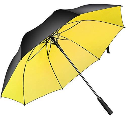 Superbison Dual Layer Golfschirm 62 Zoll Extra Groß Schirme Automatisch Öffnen Stark Winddichte Wasserdichte Regenschirm (Gelb 155cm)