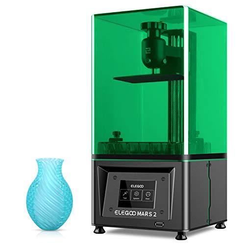ELEGOO Mono MSLA 3D Drucker Mars 2, UV Lichthärtungs LCD Harzdrucker 3D Printer mit 6 Zoll 2K Monochrom LCD Bildschirm,Schnelle Druckgeschwindigkeit, Druckgröße 129 x 80 x 150 mm