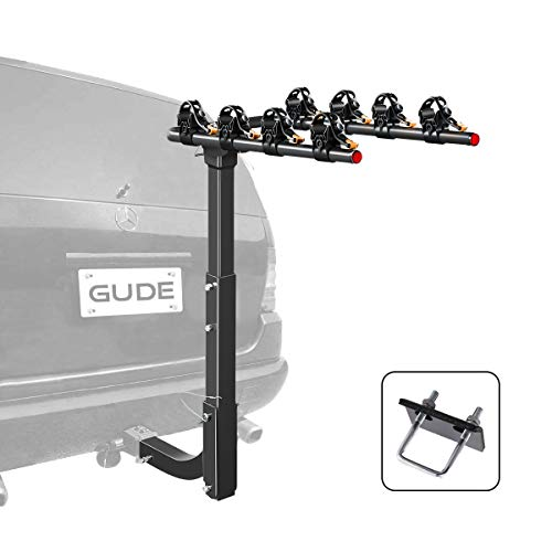 GUDE 4 Bike Rack for Car Hitch Mount 2'' Hitch Receiver Heavy Duty Bicycle Carrier Rack Hitch Swing Rack Hanging with Anti Sway Double Folding for Cars, SUVs, Vans, Minivans