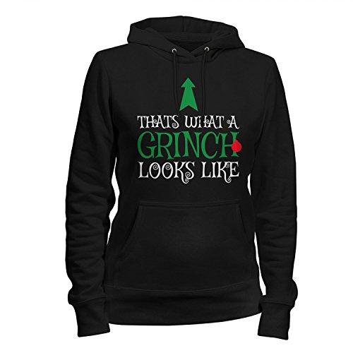 Fashionalarm Damen Kapuzen Pullover - Thats What A Grinch Looks Like | Fun Hoodie Spruch Geschenk Idee Weihnachten Heiligabend Weihnachtsmuffel, Farbe:schwarz;Größe:L