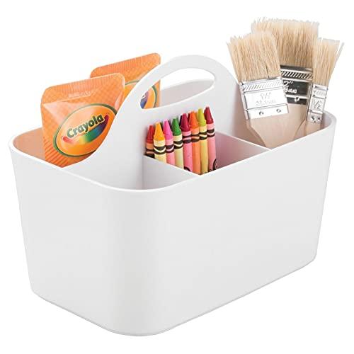 mDesign Cesta organizadora – Caja organizadora para material de manualidades y de costura: botones, tijeras, pinturas, lápices - Blanco