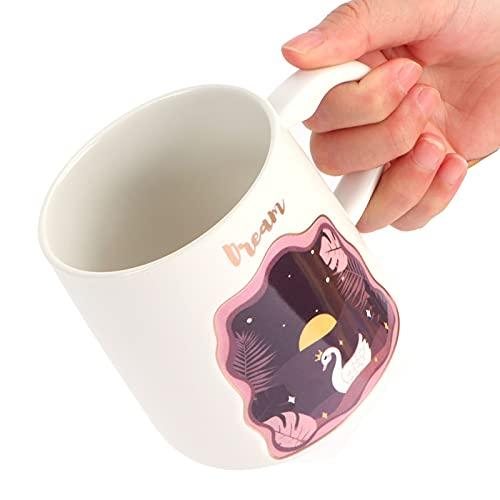 Taza de animal en relieve, taza de cerámica Mango cómodo para usar Taza de café linda de dibujos animados con cuchara de tapa Fácil de llevar para el hogar y la oficina(Swan spoon with lid)