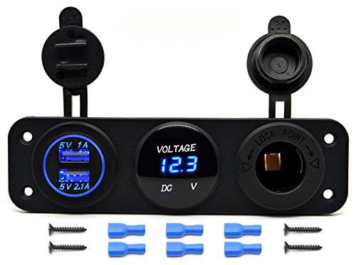Cllena Triple Function Dual USB Charger + LED Voltmeter + 12V Outlet Power Socket Panel Jack for Car Boat Marine Digital Devices Mobile Phone Tablet (Blue LED)