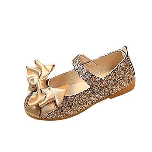 Hunpta Prince Schuhe Kinder Mädchen Mode Prinzessin Bowknot Dance Nubukleder Einzelne Schuhe (Gold, 12_Months)