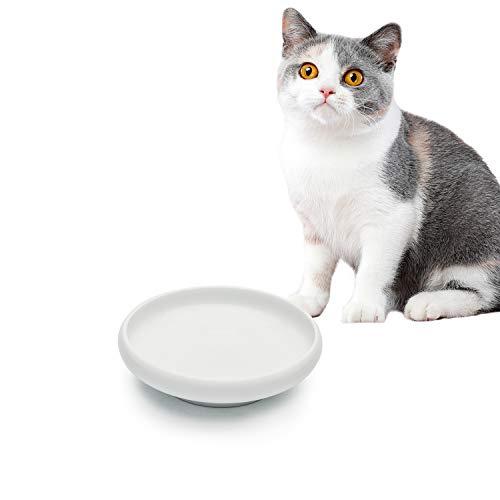 ComSaf Katzenfutter-Wassernapf, breit, flach, Keramik, auslaufsicher, 284 ml, Weiß, 1 Stück