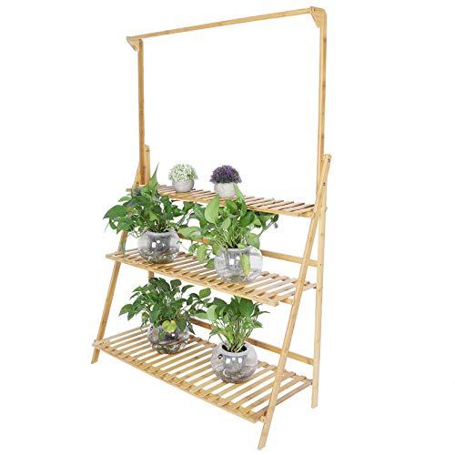 Estink - Estantería para flores con soporte para macetas de madera, soporte para plantas de bambú de 3 niveles, expositor para flores en jardín, balcón, tribunal, 143 x 95,5 x 37,7 cm