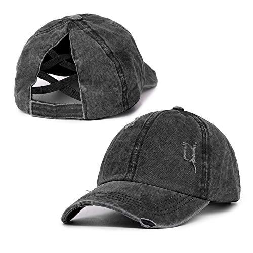 Womens Distressed Crisscross Ponytail Cap Adjustable Baseball Cap for High Bun Unisex Vintage Washed Trucker Hats Black