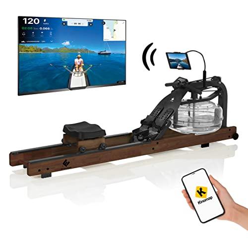 FitEngine Wasser-Rudergerät Smart Dunkelbraun | Mit Wireless Connection | Ergonomischer Rudersitz für eine korrekte Haltung | Realistisches Rudergefühl durch regulierbaren Wasserwiderstand