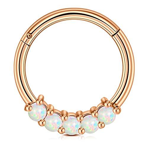 AVYRING 16G Dia 10MM Cartilage Earrings Hoop Hinged Clicker w Opal Stainless Steel Septum Nose Lip Rings Helix Rook Earrings Jewelry - Rose Gold