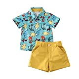 Geagodelia Conjunto Niños Bebés Verano Gentleman Camiseta de Manga Corta Pantalón Corto Ropa Bautizo de 2 Piezas (Dinosaurio 2, 5-6 Años)