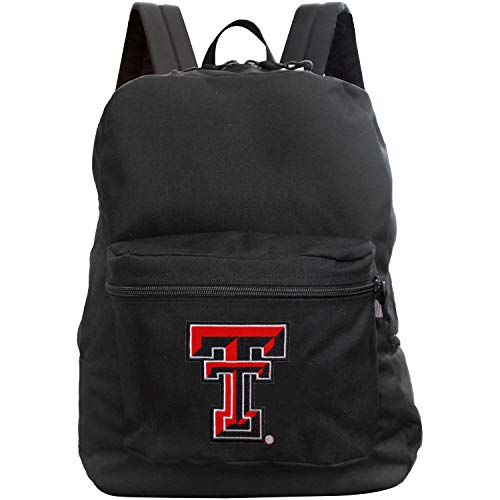 Denco NCAA Texas Tech Red Raiders Made in The USA Premium Backpack, 16-inches, Black