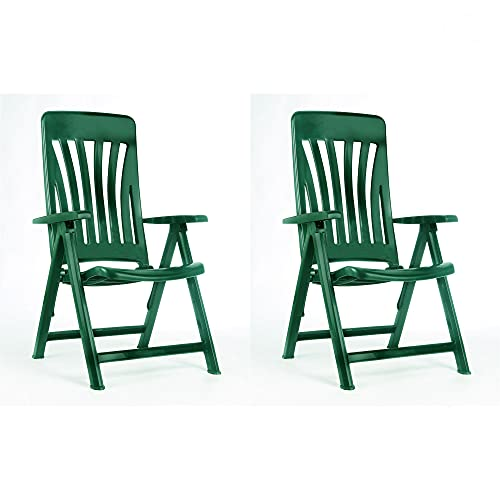 RESOL Blanes Set 2 Sillones de Jardín Reclinables 5 Posiciones con Respaldo Alto Aireado y Reposabrazos | Plegable, Ligero y Cómodo con Multiposición - Color Verde Oscuro