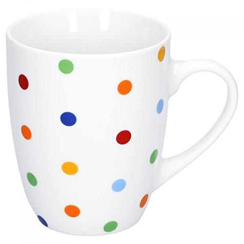 Van Well Steingut Geschirr Serie Capri | weiß mit Dekor | Artikel wählbar, Service Serie Capri:Kaffeebecher 275ml