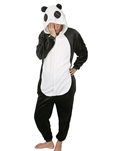 chuangminghangqi Surpyjama Panda Combinaison Costume Jumpsuit Flanelle pour Adulte Unisexe (Panda, Small)
