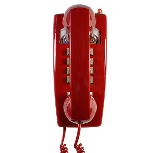 Old Style Retro Wall Phone with Handset Volume Control Landline Corded Telehone Waterproof and Moisture Proof for Home,Hotel,Bathroom,Living Room,School and Office,Red