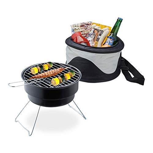 Relaxdays, schwarz Picknickgrill mit Kühltasche, tragbarer Campinggrill, Ø 26 cm, Mini Grill für leckeres BBQ & Festival