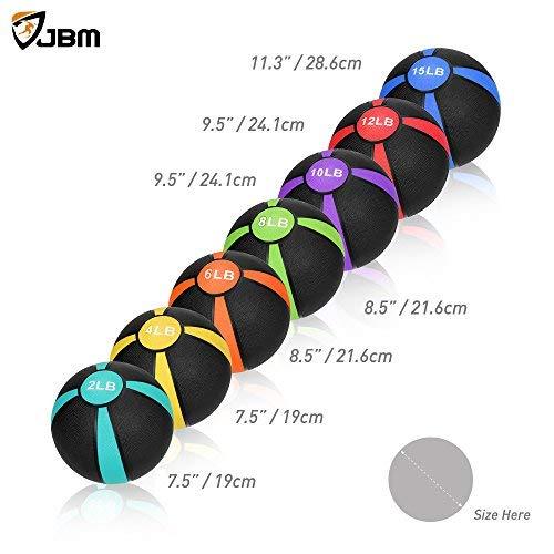 JBM Medicine Ball Slam Ball 2lbs 4lbs 6lbs 8lbs 10lbs 12lbs 15lbs Workouts/Exercise Strength Training Cardio Exercise Plyometric & Core Training Squats, Lunges