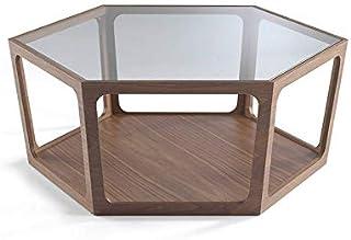 Angel Cerdá   Mesa de Centro Hexagonal de Madera Nogal con Tapa de Cristal Templado Estilo Moderno