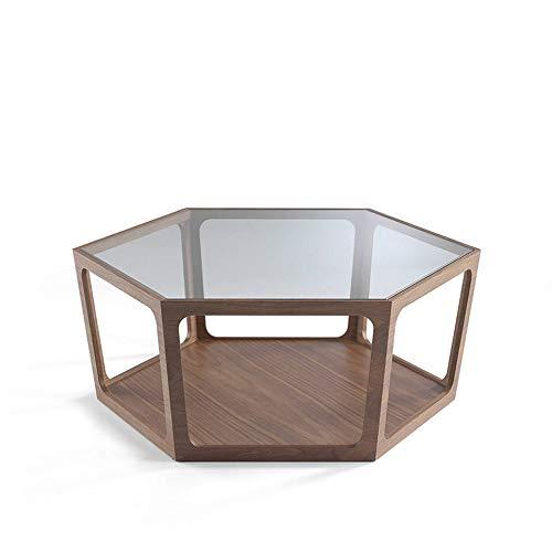 Angel Cerdá | Mesa de Centro Hexagonal de Madera Nogal, con Tapa de Cristal Templado, Estilo Moderno