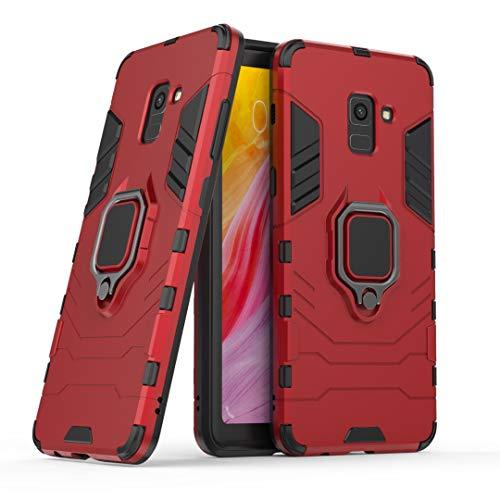 Zhanying pour Samsung Galaxy A8 Plus 2018 Hybrid Case, Durable 2 en 1 Double Couche PC + TPU Couverture de Protection avec Anneau de Rotation Béquille (Color : Red)