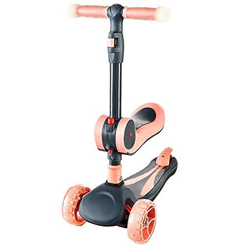 Folding 3-Wheel Scooter Mini Scooter (para niños), Puede iluminar a los Chicos y Chicas Scooters, con Asientos móviles y Altura Ajustable, Especialmente diseñados para niños de 1 a 6 años